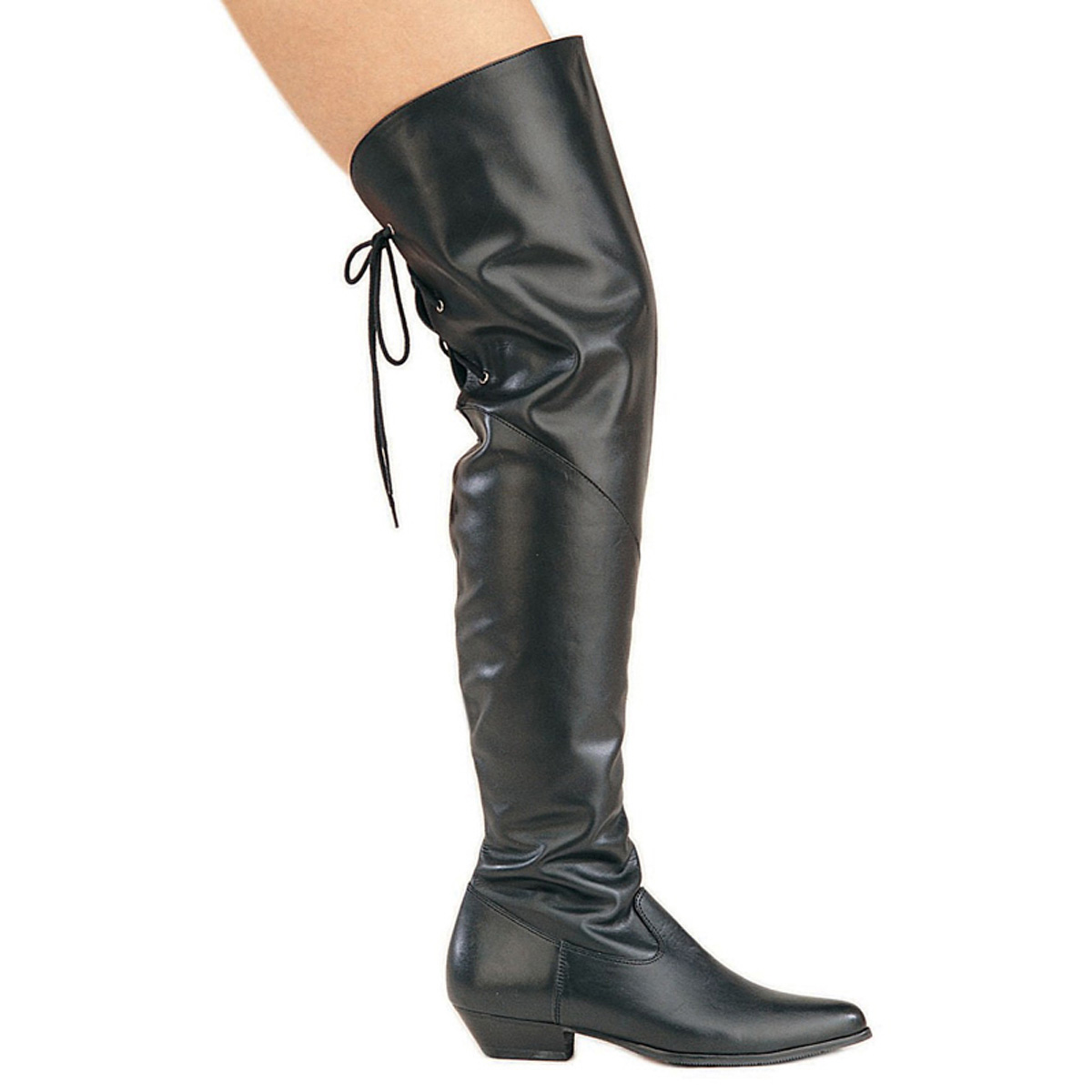 PLEASER RODEO-8822 Thigh Hi Cow Leather Boot/Blk Leather