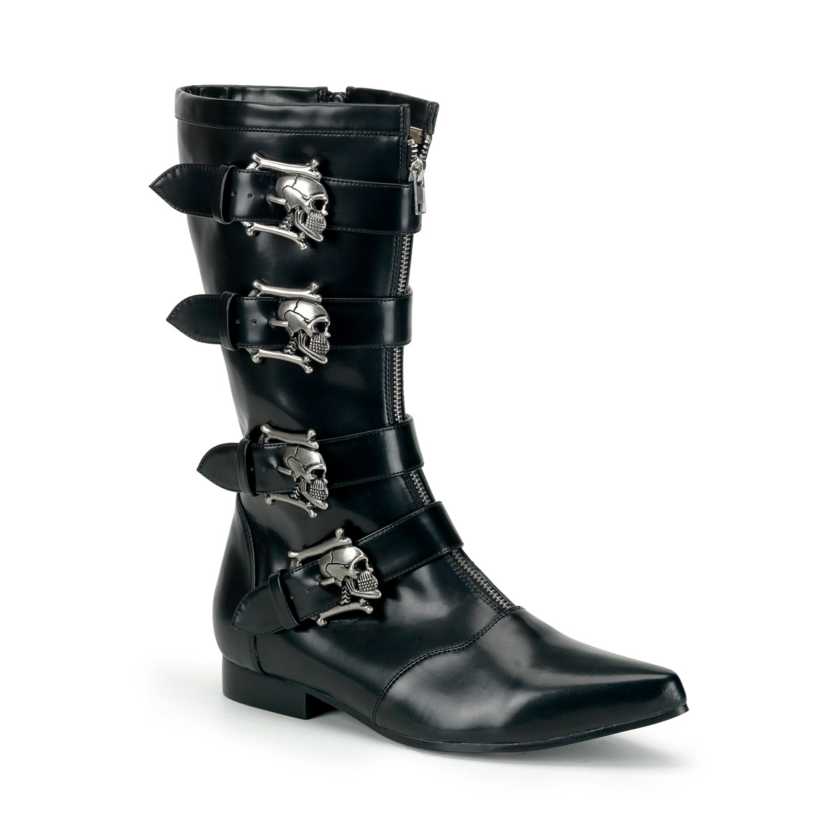 Skull Buckle Goth Boots Mid Calf Boot - More Details