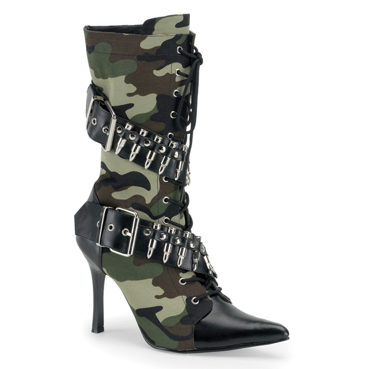 Green Camoflage Bullet Military Boot, 3 3/4