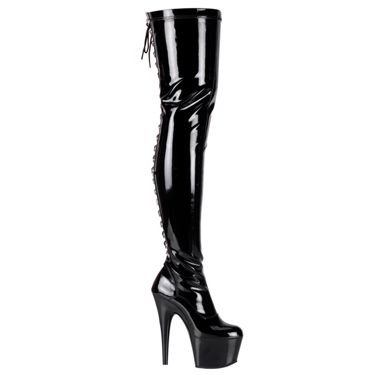 Pleaser Shoes Women's ADORE-3063, 6-1/2'' Rear Lace-Up Stretch Platform Thigh Boot, Side Zip - Black/Black at Sears.com