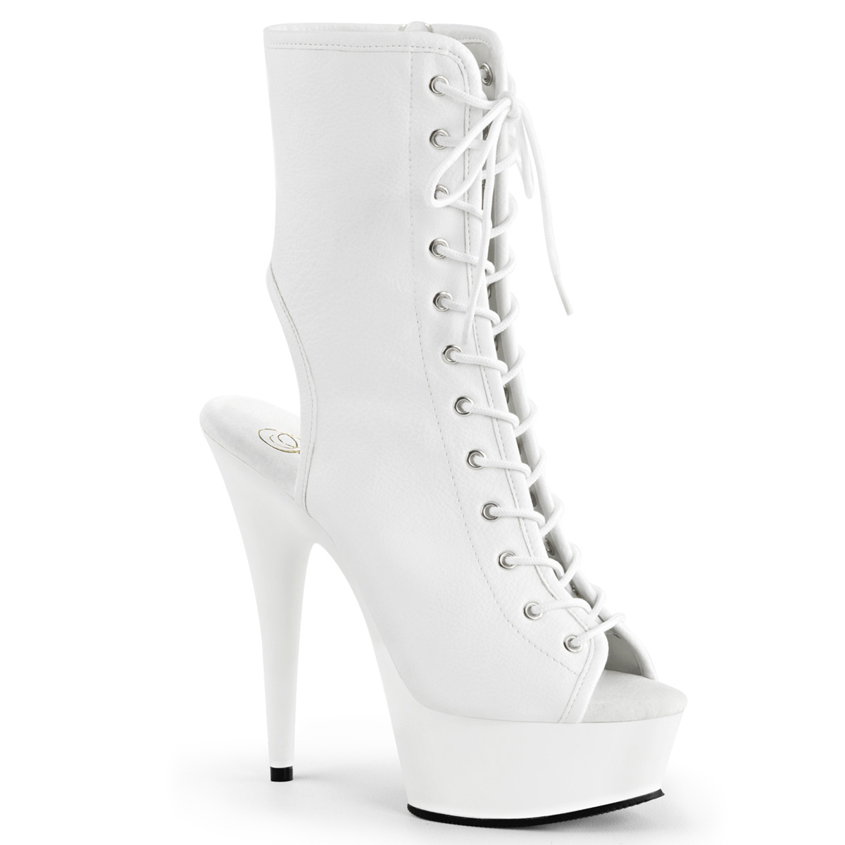 Delight-1016 White Pu Ankle Boot