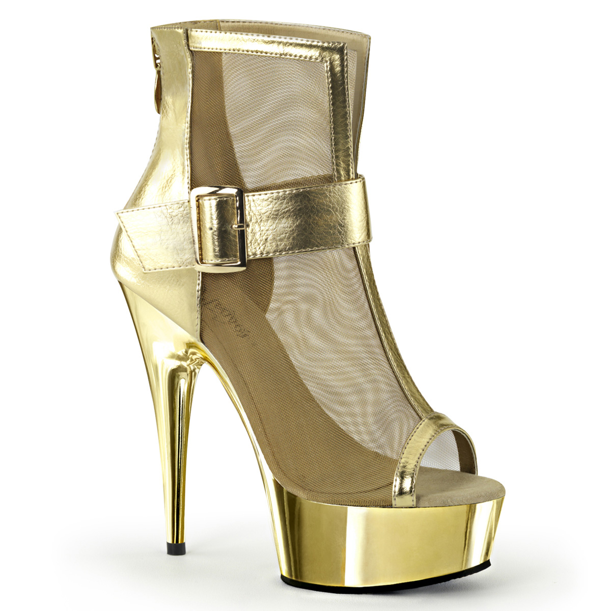 Delight-600-23 Gold Metallic Pu-Mesh/Gold Chrome by Pleaser USA
