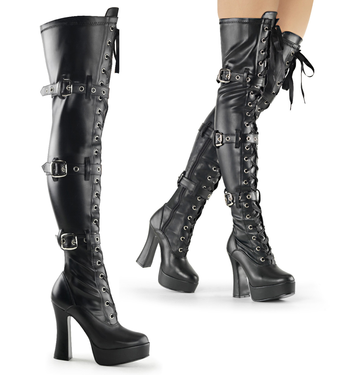 pleaser electra 3028 5 quot chunky heel platform thigh high