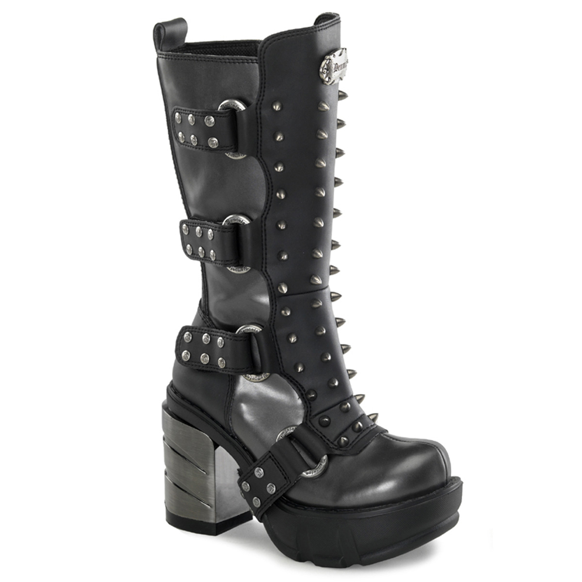 "DEMONIA  SINISTER-202 Women's 3 1/2"" Chromed ABS Heel, 1 1/2"" Moulded Pu PF Calf Boots/D.Gray-Blk Pu"