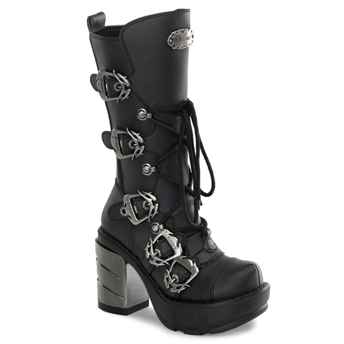 "DEMONIA  SINISTER-203 Women's 3 1/2"" Chromed ABS Heel, 1 1/2"" Moulded Pu PF Calf Boots/Blk Pu"