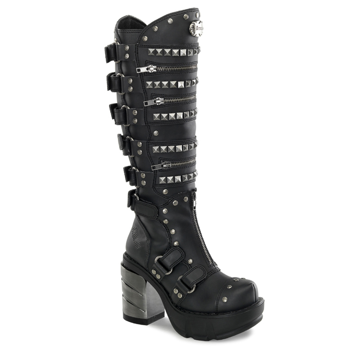 "DEMONIA  SINISTER-301 Women's 3 1/2"" Chromed ABS Heel, 1 1/2"" Moulded Pu PF Knee Boots/Blk Pu"
