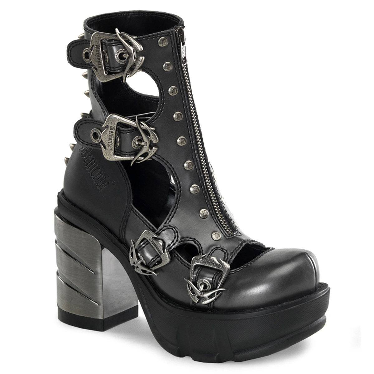 "DEMONIA  SINISTER-61 Women's 3 1/2"" Chromed ABSl Heel, 1 1/2"" Moulded Pu PF Shoes/D.Gray-Blk Pu"