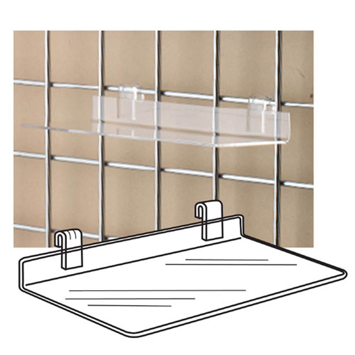 ACCESSORIES SS-02 Clear Acrylic Gridwall Shelf/STD