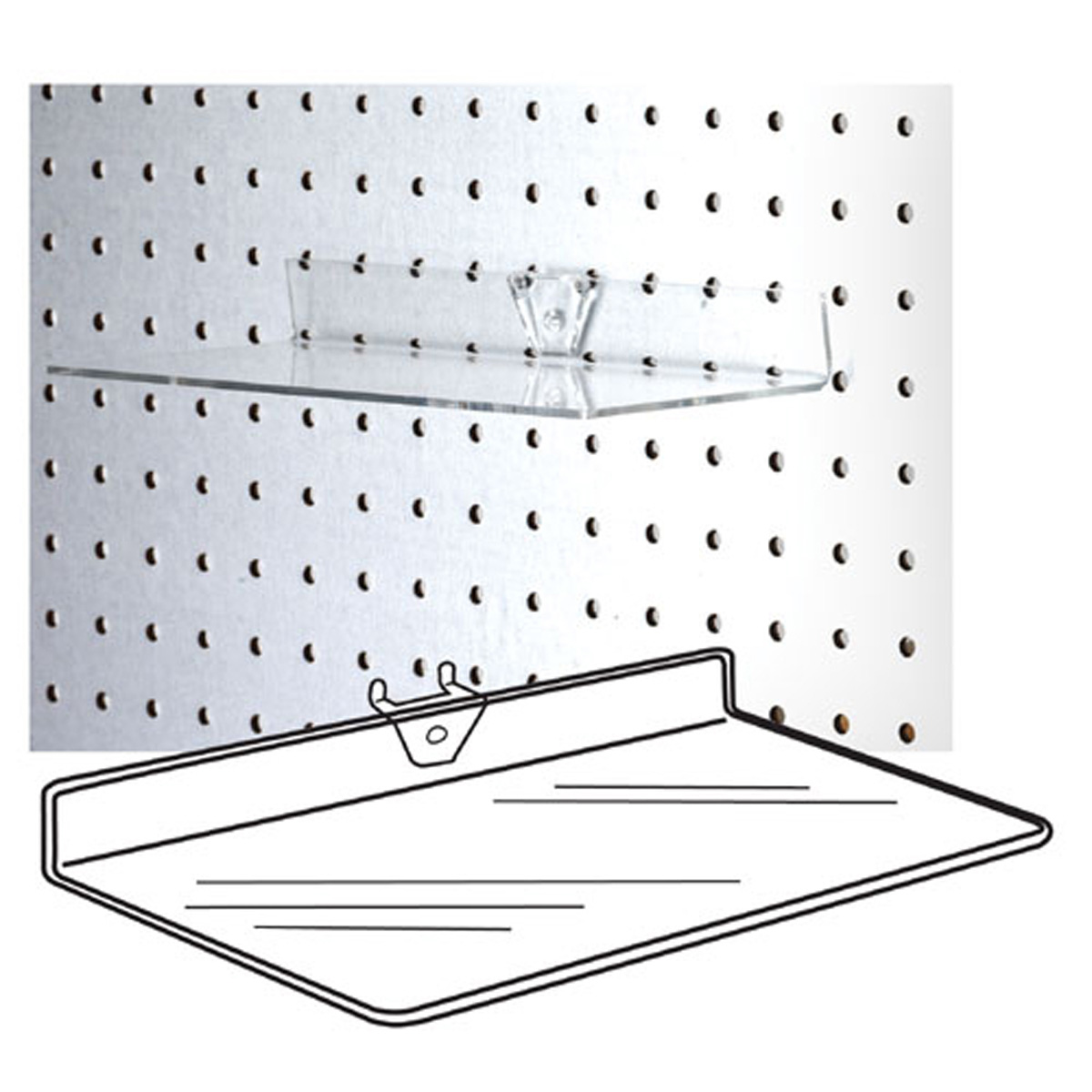 ACCESSORIES SS-03 Clear Acrylic Pegboard Shelf/STD