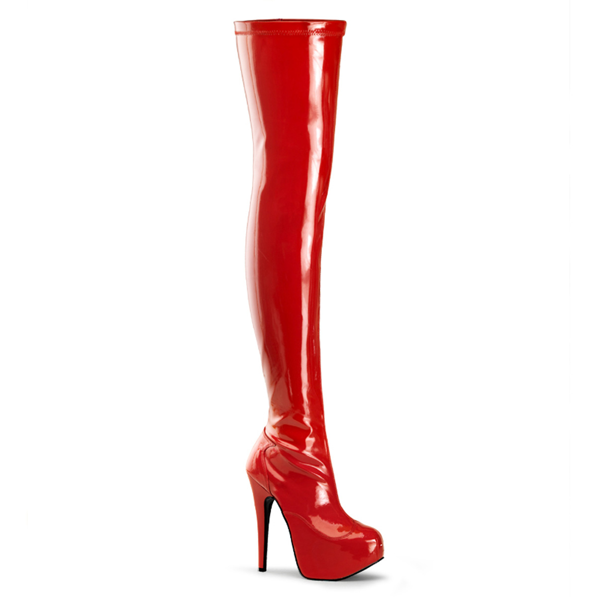 "BORDELLO TEEZE-3000 5 3/4"" Heel, 1 3/4"" Hidden PF Stretch Thigh Boot, Side Zip/Red Str Pat"