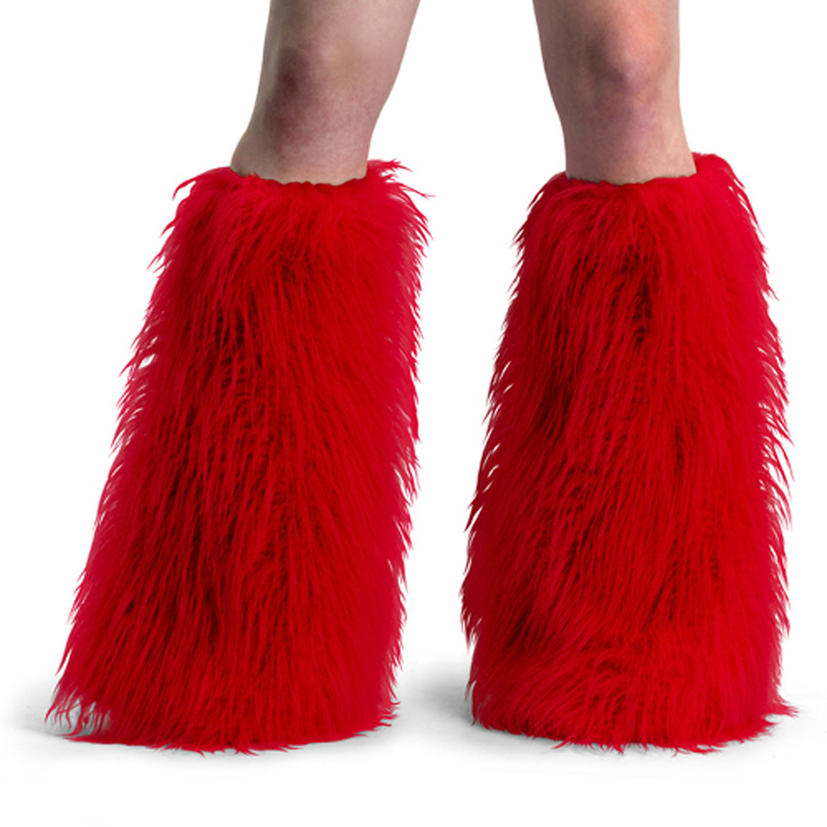 ACCESSORIES YETI-01 Red Faux Fur Boot Sleeve/Red Faux Fur
