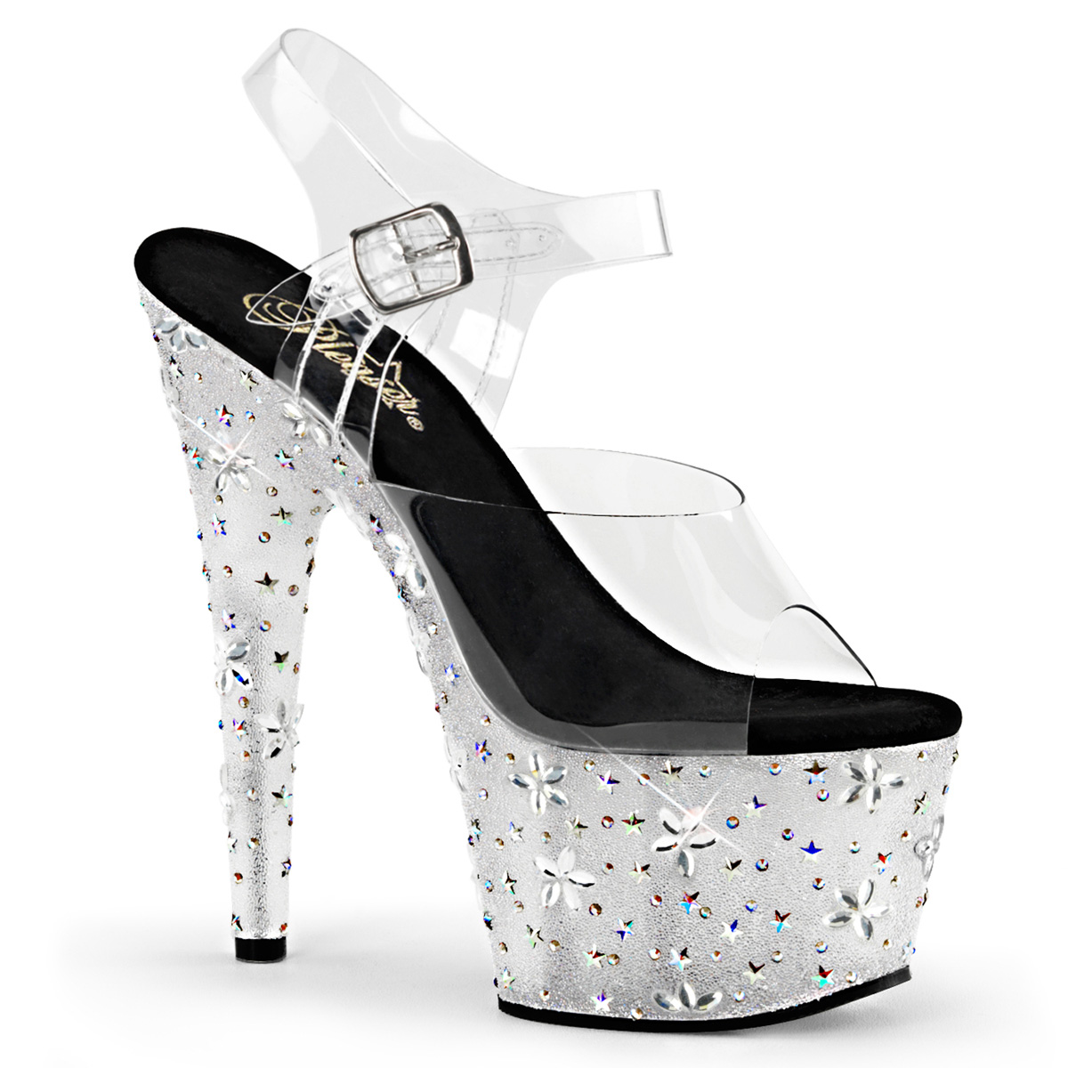 Pleaser Womens Pf Ankle Strap Sandal W/Rs & Flower Design
